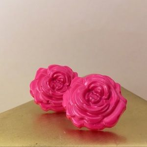 Bright Pink Rose Studs Hand Molded & Painted
